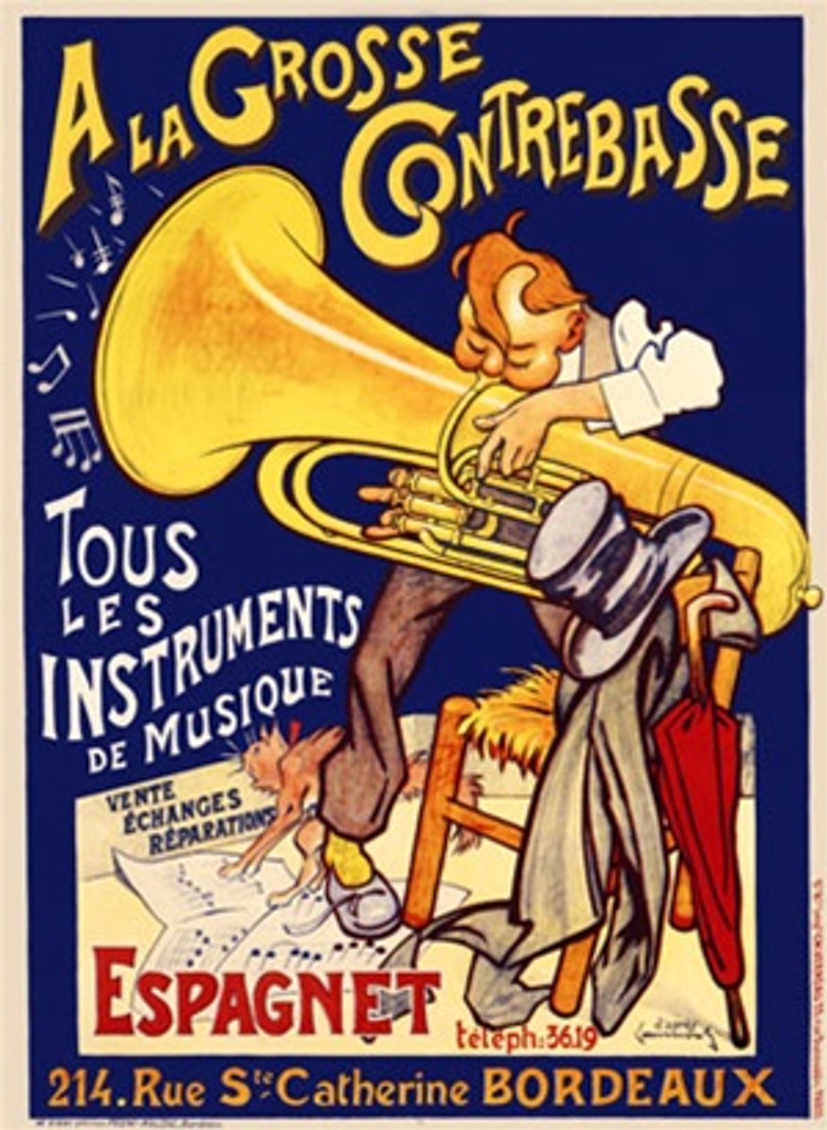 A La Grosse Contrebasse 1905 France - Vintage Poster Reproductions. French product poster features a man standing on sheet music playing a tuba next to a chair with his hat, coat and umbrella. Giclee Advertising Print. Classic Posters