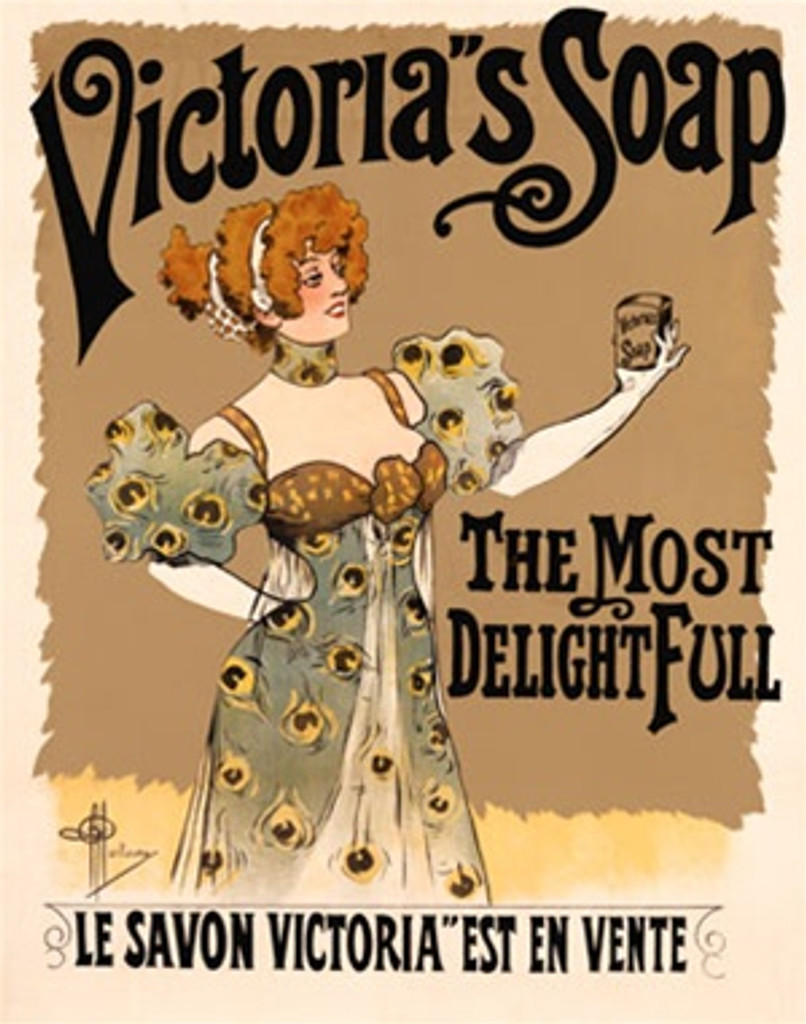 Victorias Soap by Guillaume 1900 France - Beautiful Vintage Poster Reproductions. This vertical French product poster features a red headed woman in formal dress holding up a bar of soap. The Most Delightfull. Giclee Advertising Print. Classic Posters