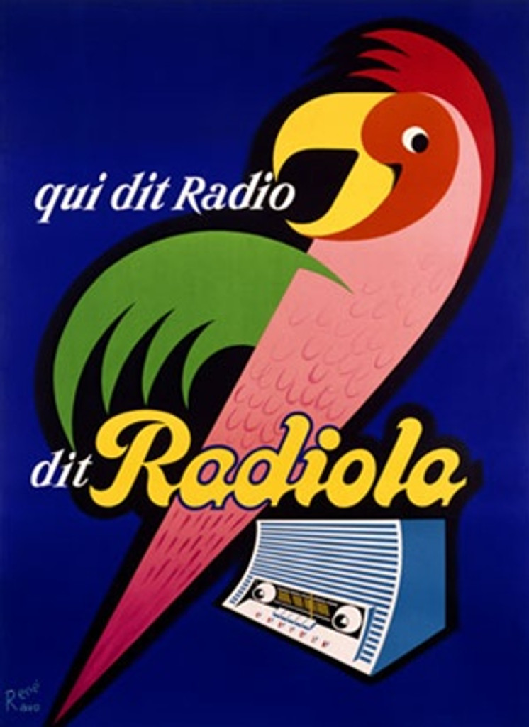 Radiola by Ravo 1950 France - Beautiful Vintage Poster Reproductions. This vertical French product poster features a graphic bird with green wing on a radio against a blue background. qui dit Radio. Giclee Advertising Print. Classic Posters