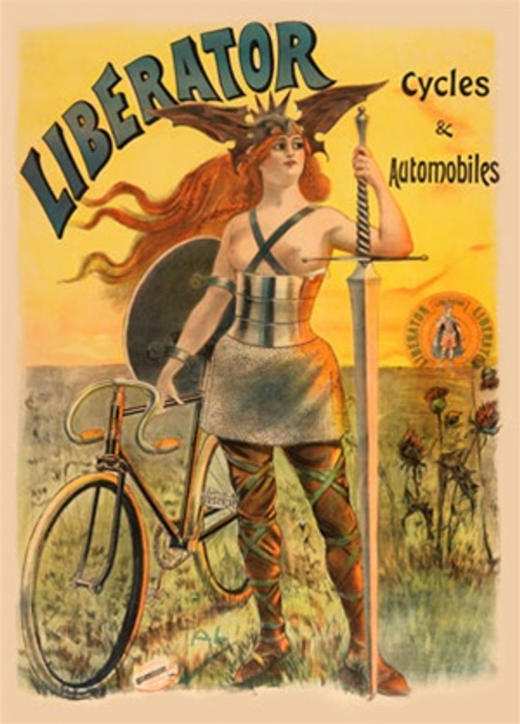 Cycles Liberator by Pal 1898 France - Beautiful Vintage Poster Reproductions. French transportation poster features a warrior woman with shield and sword next to a bike in a field at sunset. Giclee Advertising Print. Classic Posters