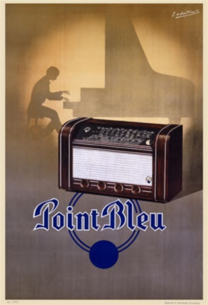 Point Bleu 1938 France - Beautiful Vintage Poster Reproductions. This vertical French product poster features a brown radio with the silhouette of a man playing the piano behind it and blue circles and text below. Giclee Advertising Print. Classic Posters