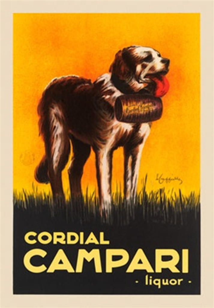 Cordial Campari Liquor by L. Cappiello 1921 Italian- Beautiful Vintage Poster Reproduction. This vertical liquor advertisement features a life-saving dog St. Bernard coming to the rescue with cordial campari liquor barrel on his neck. Giclee Prints
