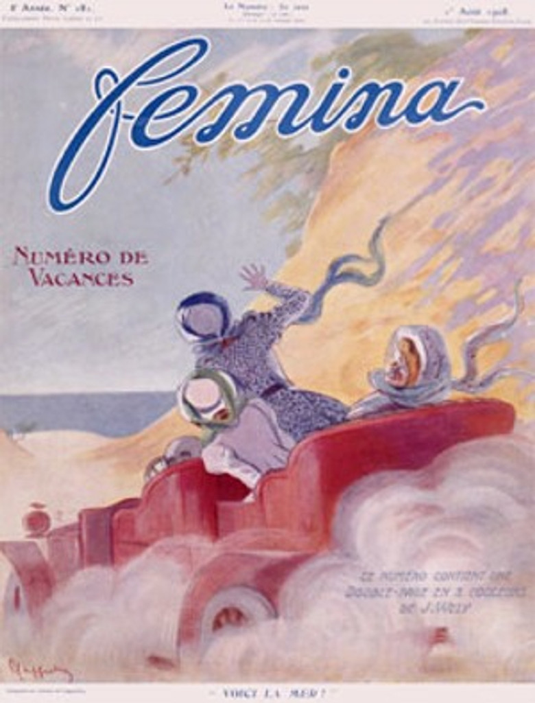 Femina by Cappiello 1908 France - Beautiful Vintage Poster Reproduction. This vertical French poster features a car full of women driving around the mountain to the ocean. Giclee advertising print. Classic Posters
