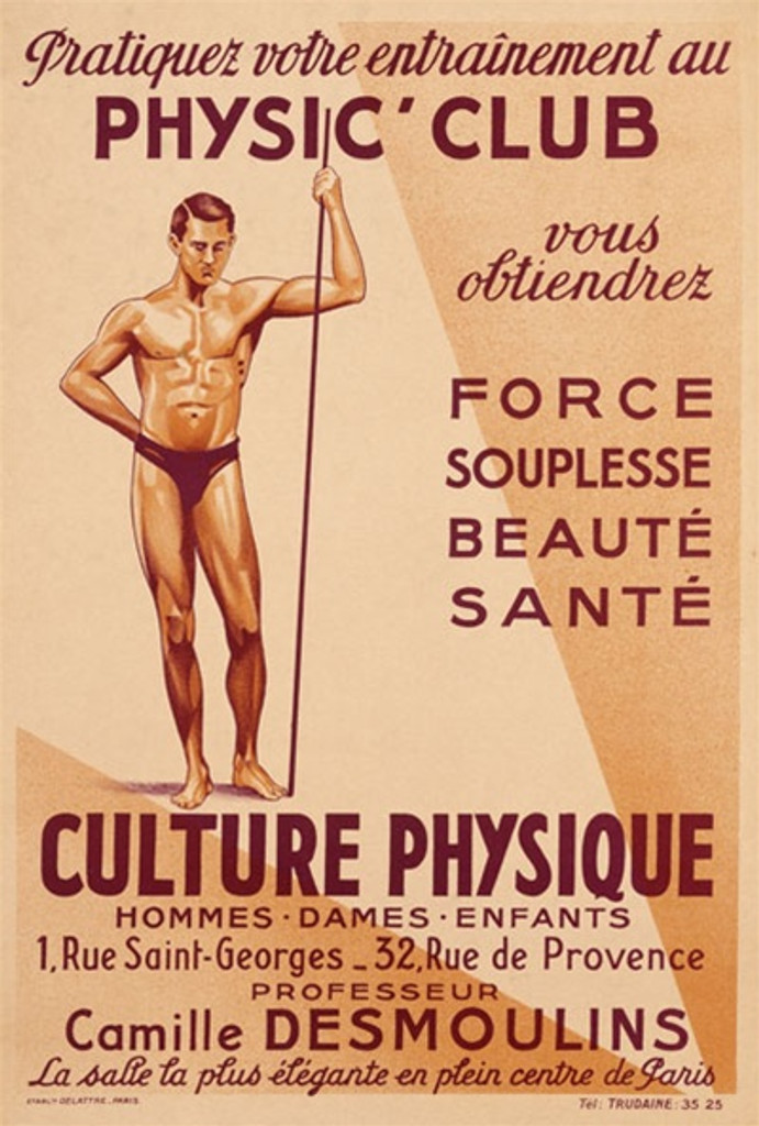 Culture Physique 1920 France - Beautiful Vintage Poster Reproductions. This vertical French product poster features a physically fit man in a speedo holding a pole. Physic Club Force Souplesse Beaute Sante. Giclee Advertising Print. Classic Posters