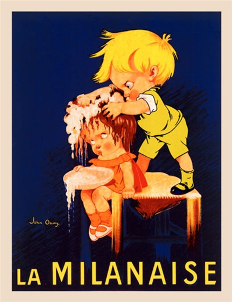 La Milanaise by Onwy 1930 France - Beautiful Vintage Poster Reproductions. French product poster features a boy dressed in green standing on a table washing a girls hair who wears orange. Giclee Advertising Print. Classic Posters