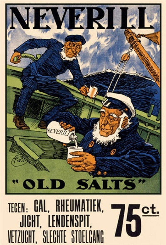 Neverill 1920 England - Vintage Poster Reproductions. This vertical English product poster features two sailors, one steering the rudder of a boat and one coming up from below pouring from a bottle into a glass. Giclee Advertising Print. Classic Posters