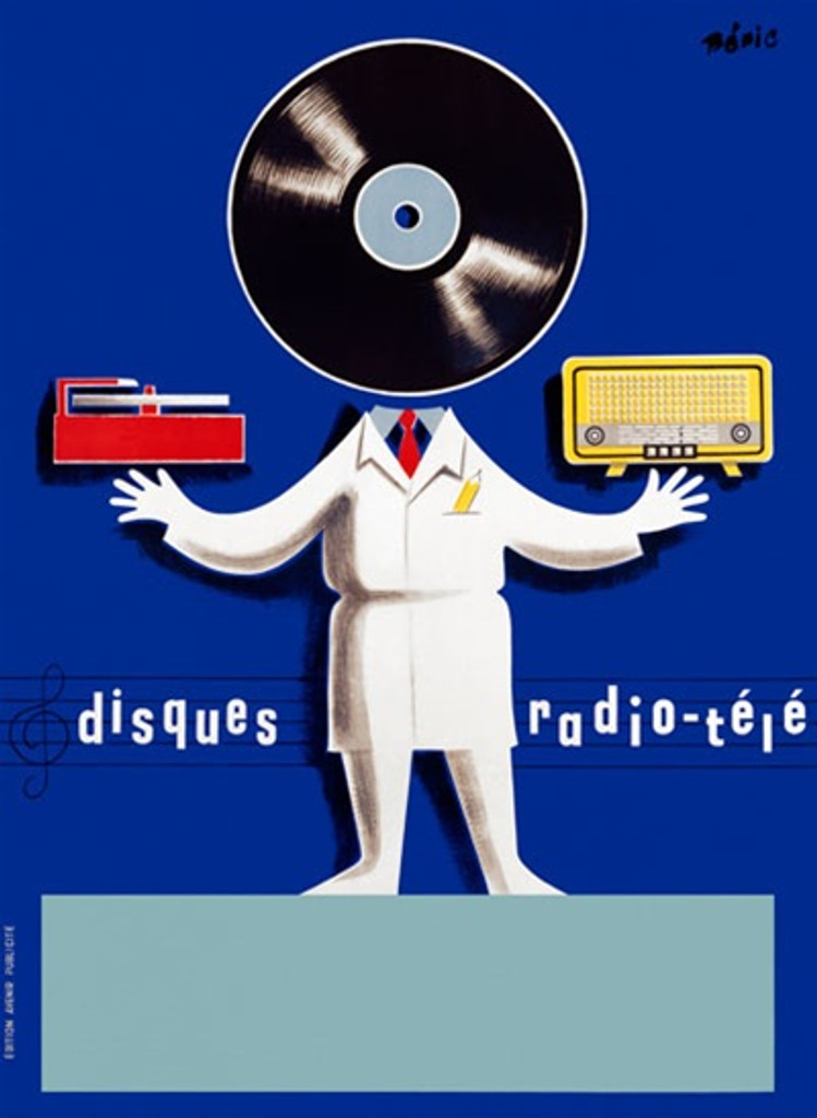 Disques Radio Tele by Beric 1950 France - Vintage Poster Reproductions. This vertical French product poster features a person with a vinyl record for a head, a radio in one hand and record player in the other. Giclee Advertising Print. Classic Posters