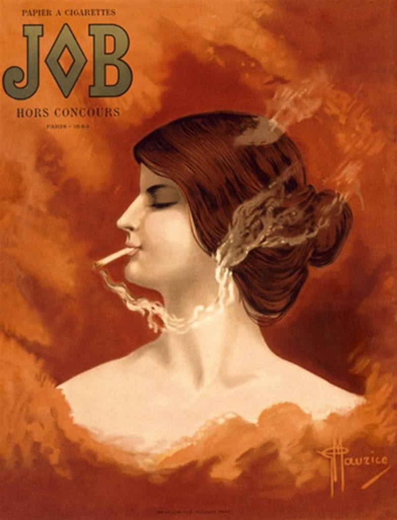 JOB by Hernandez 1900 France - Beautiful Vintage Poster Reproductions. This vertical French product poster features a red headed woman in profile smoking a cigarette in an orange cloud of smoke. Giclee Advertising Print. Classic Posters