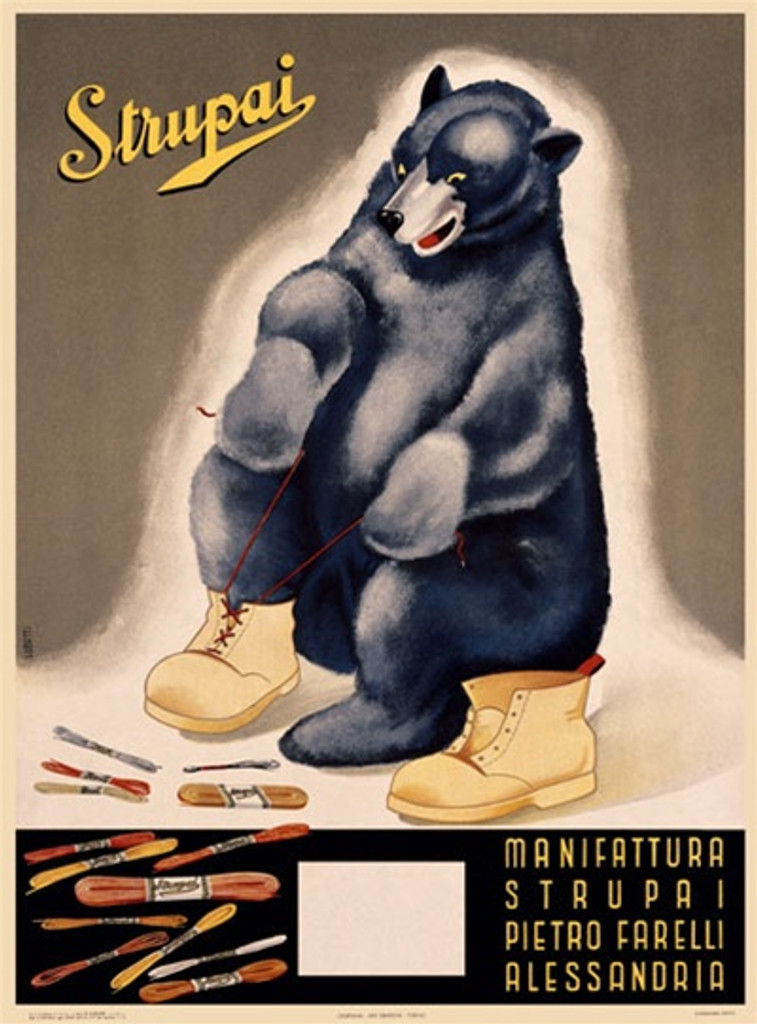 Strupai by Lubatti 1939 Italy - Beautiful Vintage Poster Reproductions. This vertical Italian product poster features a black bear tying his boot with other shoelaces at his feet with his paws. Alessandria. Giclee Advertising Print. Classic Posters