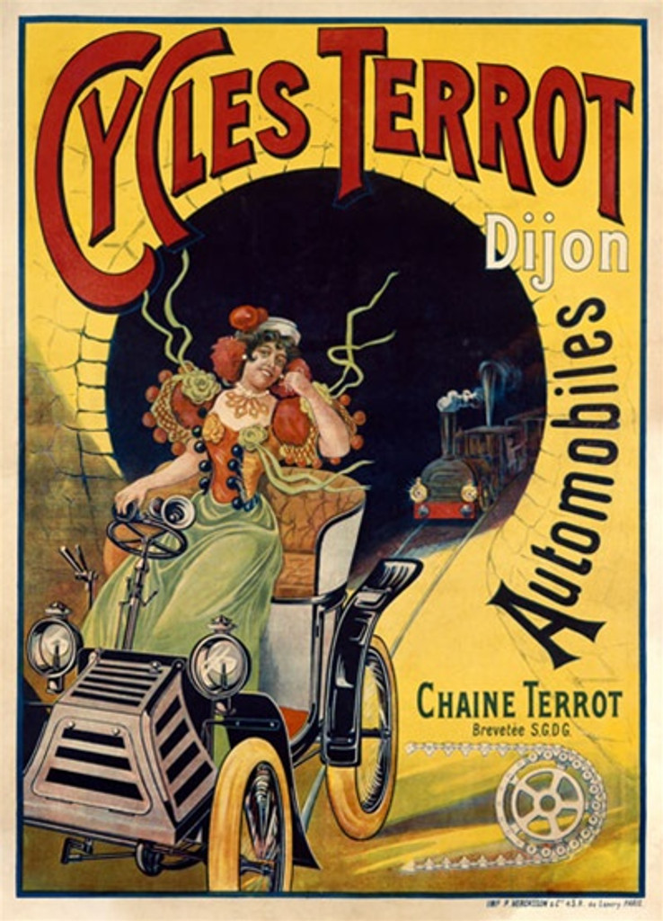 Cycles Terrot by Ploz 1906 France - Beautiful Vintage Poster Reproductions. This vertical French transportation poster features a woman in a car on a track with a train coming out of a tunnel behind her. Giclee Advertising Print. Classic Posters