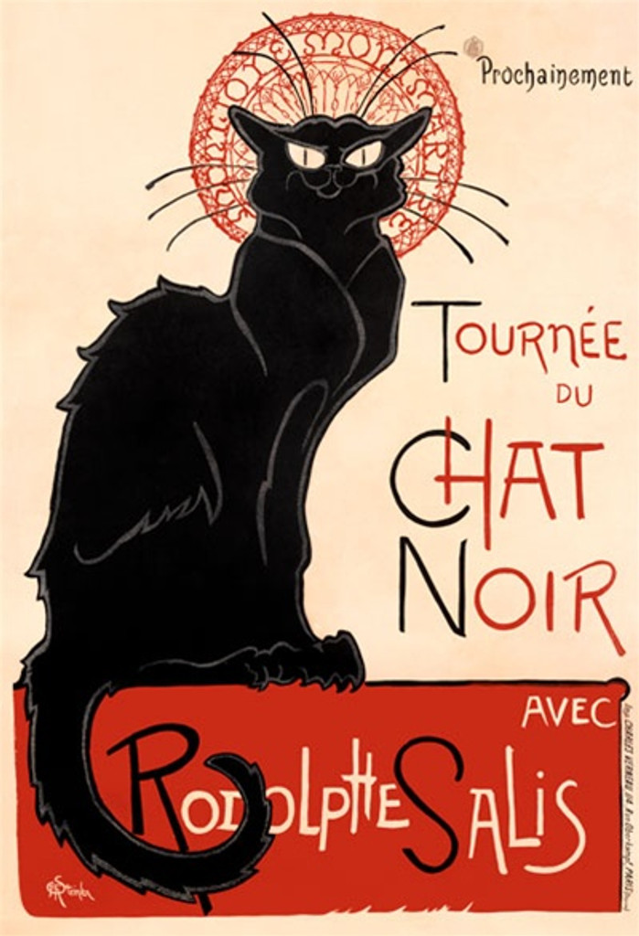 Chat Noir poster print by Steinlen 1896 - Beautiful Vintage Posters Reproductions. French theater and exhibition poster features a black cat with a decorative red halo sitting on a red block. Giclee Advertising Prints