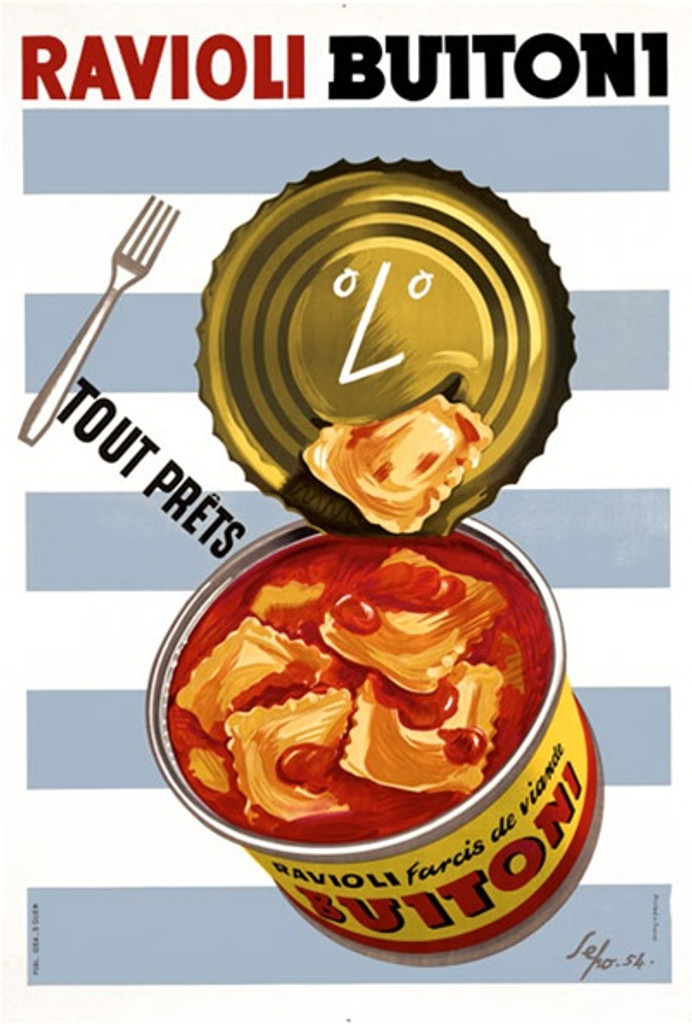 Ravioli Buitoni 1954 Italy - Beautiful Vintage Poster Reproductions. This vertical Italian culinary / food poster features a open can of pasta. The face on the lid is eating one of the ravioli. Blue, White stripes Giclee Advertising Print. Classic Posters