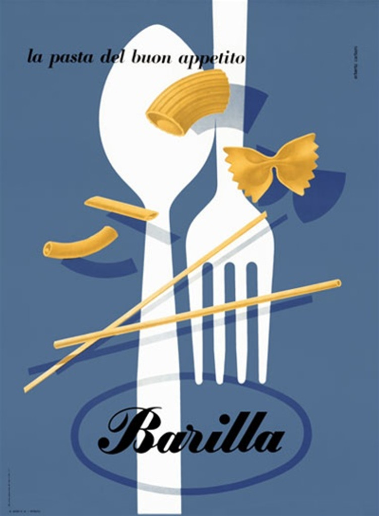 Barilla by Carboni 1935 Italy - Beautiful Vintage Poster Reproductions. This vertical Italian culinary / food poster features a white fork and spoon on a blue background with different pasta pieces. Giclee Advertising Print. Classic Posters