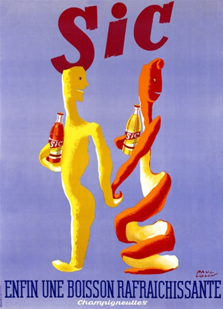 Sic Boisson 1948 France - Beautiful Vintage Poster Reproductions. This vertical French culinary / food poster features a lemon and orange peel in the shape of people holding hands and bottles. Giclee Advertising Print. Classic Posters