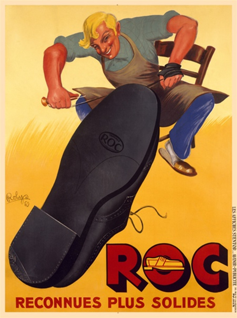 Roc shoe poster by Robys 1938 France - Beautiful Vintage Posters Reproductions. This vertical French product poster features a shoemaker sitting at a chair working on a giant black shoe on a yellow background. Giclee Advertising Print. Classic Posters