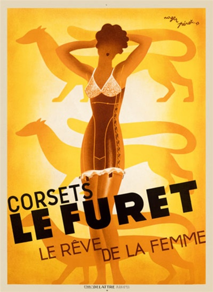 Le Furet by Perot 1933 France - Beautiful Vintage Poster Reproductions. This vertical French product poster features an outline of a woman in a corset with animals behind her in yellow. Le Reve De La Femme. Giclee Advertising Print. Classic Posters
