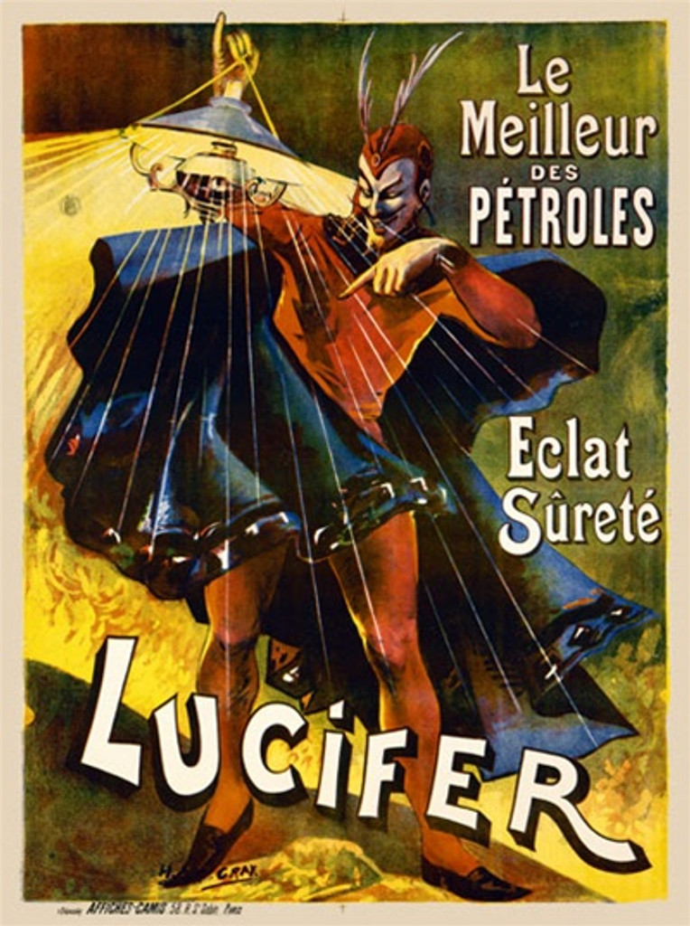 Lucifer 1900 France - Beautiful Vintage Poster Reproductions. This vertical French product poster features a devil in a red suit and blue cape holding up a lantern. Le Meilleur des Petroles Eclat Surete. Giclee Advertising Print. Classic Posters