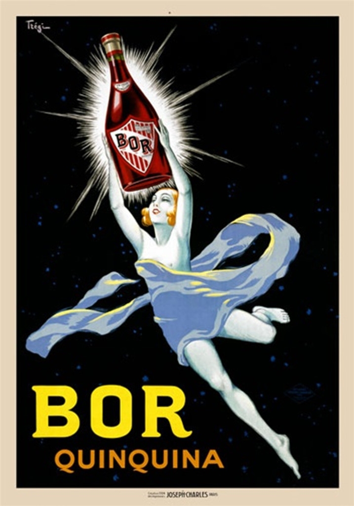BOR by Tigre 1924 France - Beautiful Vintage Poster Reproductions. This vertical French wine and spirits poster features a women floating in space draped in lite blue fabric holding up a glowing bottle. Giclee Advertising Print. Classic Posters