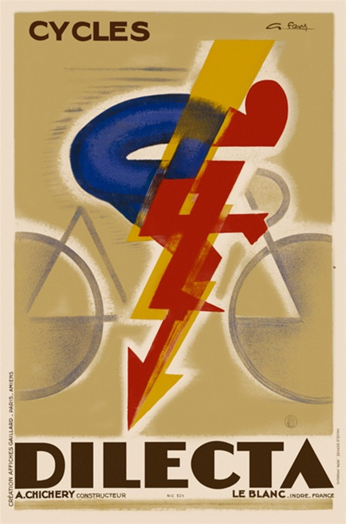 Cycles Dilecta by Favre 1926 France - Vintage Posters Reproductions. French bicycles poster features a red and blue abstract cyclist with a lighting bolt or arrow following the line of his body in yellow. Giclee Advertising Prints. Classic Poster