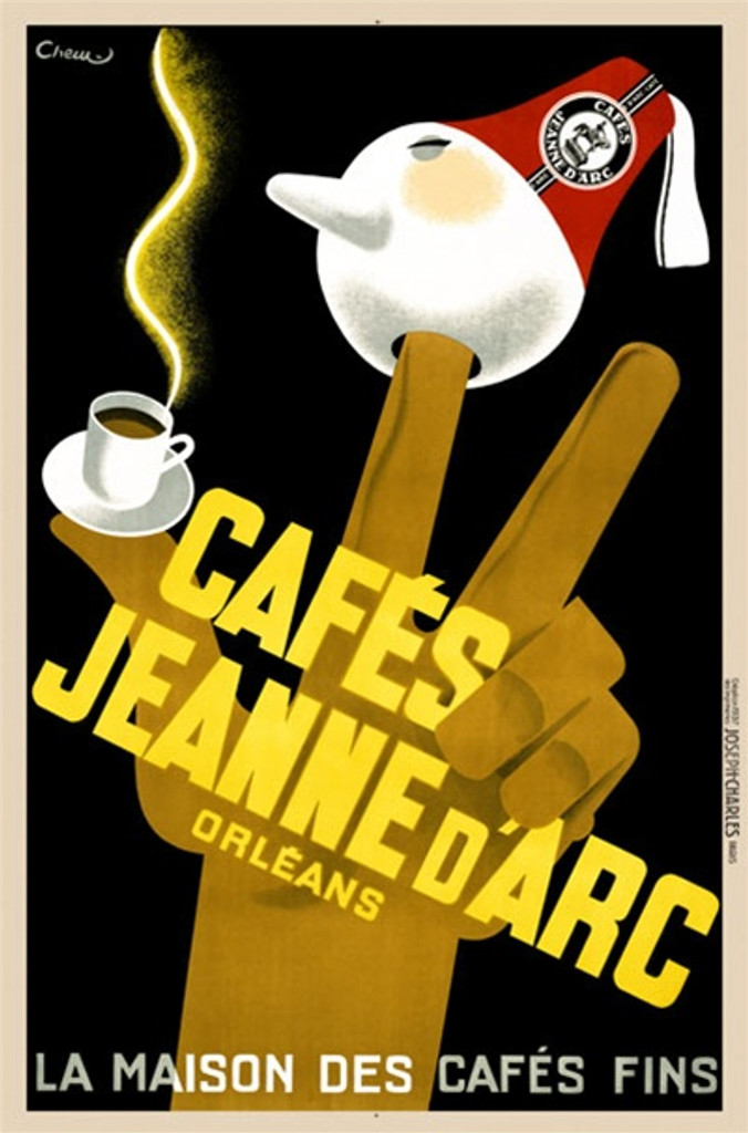 Cafes Jeanne d Arc by Cheu 1937 France - Vintage Poster Reproductions. This French culinary / food poster features a brown hand holding up 3 fingers, coffee cup on thumb and one with ball (face and red hat). Giclee Advertising Print. Classic Posters