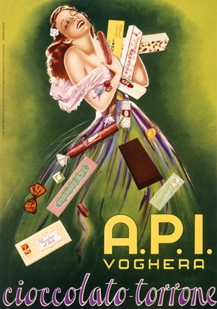 API Voghera 1955 Italy - Beautiful Vintage Poster Reproductions. Italian culinary / food poster features a woman in green dress holding (hugging) so many candies they are falling around her. Giclee Advertising Print. Classic Posters