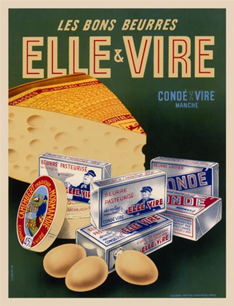 Elle and Vire by Bolot 1953 France - Beautiful Vintage Poster Reproductions. This vertical French culinary / food poster features cheese, eggs and boxes of food on a green background. Giclee Advertising Print. Classic Posters. Les bons Beurres