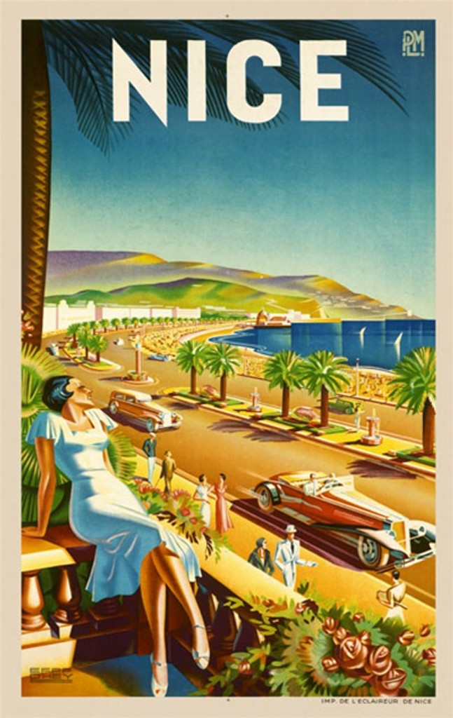 Nice by D'ttey 1930 France - Beautiful Vintage Poster Reproductions. This vertical French travel poster features a woman leaning back on her balcony looking out at the road along the sea and people walking by. Giclee Advertising Print. Classic Posters