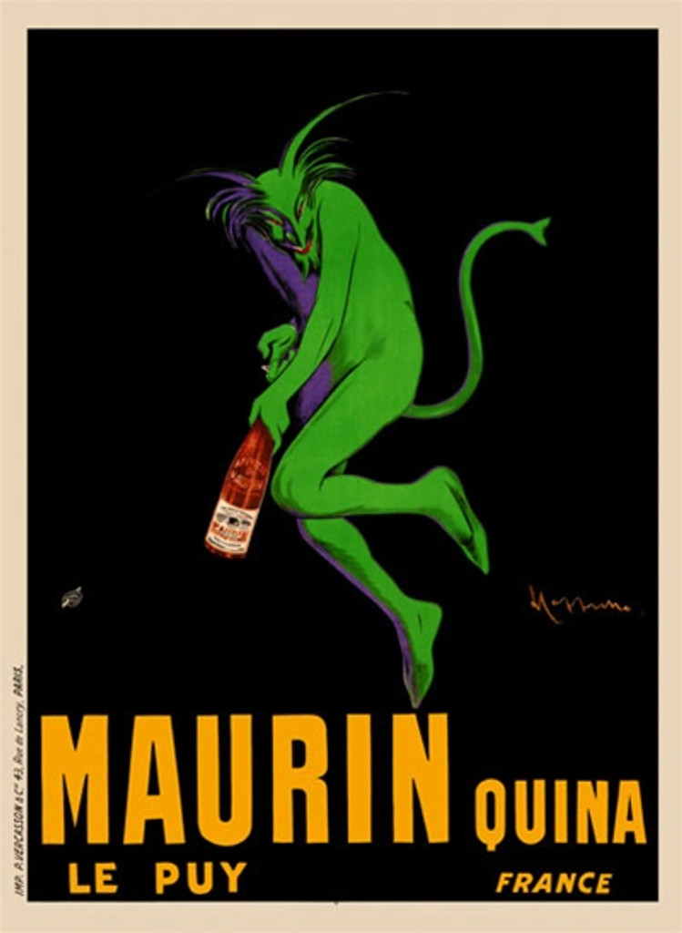 Maurin Quina by Cappiello 1906 France - Beautiful Vintage Poster Reproduction. This famous vertical French wine and spirits poster features a green devil (demon) opening a bottle of aperitif against a black background. Giclee advertising print. Classic