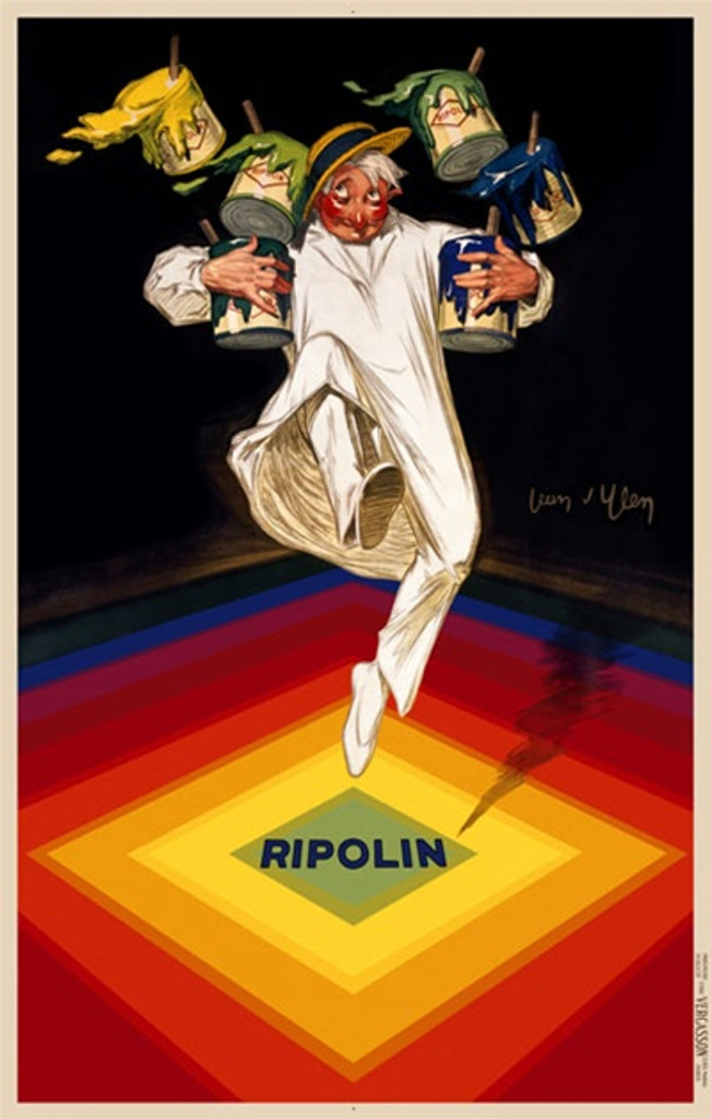 Ripolin by D'ylen 1928 France - Beautiful Vintage Poster Reproductions. This vertical French product poster features a painter in white falling as he tries to balance cans of paint on rainbow color squares. Giclee Advertising Print. Classic Posters