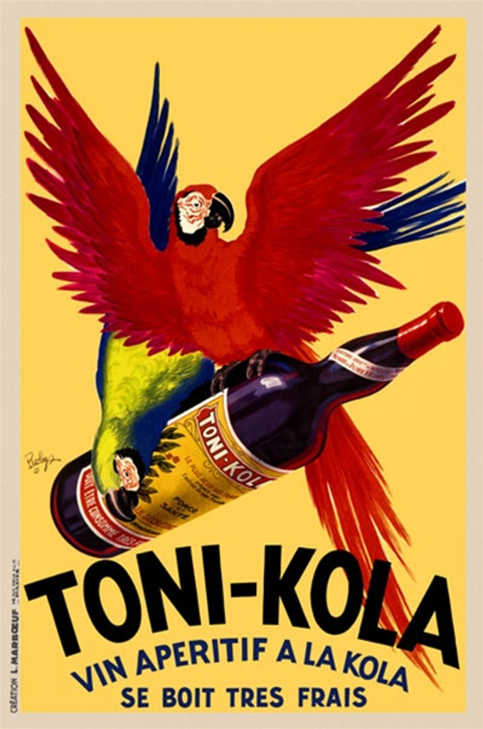 Toni Kola by Robys 1935 France - Beautiful Vintage Poster Reproductions. This vertical French wine and spirits poster features two parrots flying away with a bottle against a yellow background. Giclee Advertising Print. Classic Posters