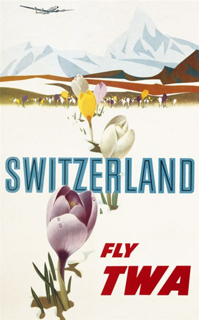 TWA Switzerland poster by Klein America USA - Beautiful Vintage Poster Reproductions. This vertical American travel poster features tulips blooming through the snow with mountains and an airplane in the distance. Giclee Advertising Print. Classic Posters