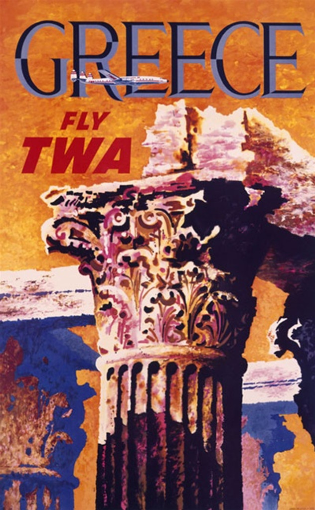 TWA Greece poster by David Klein 1959 America USA - Beautiful Vintage Posters Reproductions. American travel poster features the top of an ancient column and a plane flying across the orange sky. Giclee Advertising Print. Classic Posters