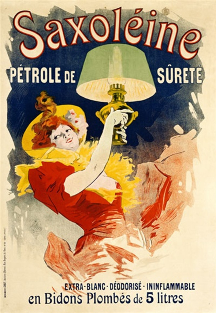 Saxoleine by Cheret 1900 France - Beautiful Vintage Poster Reproductions. This vertical French product poster features a woman in red dress and yellow hat holding up a lamp with a green shade. Petrole de Surete. Giclee Advertising Print. Classic Posters