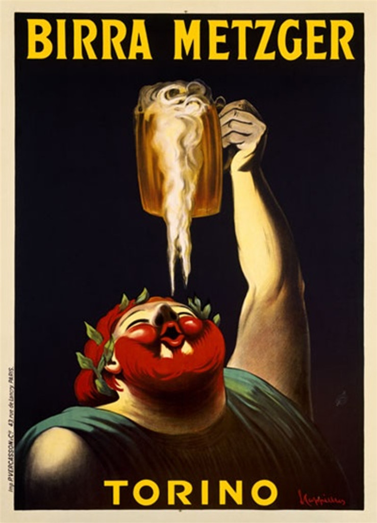 Birra Metzger by Cappiello 1911 France - Beautiful Vintage Poster Reproduction. This vertical French wine and spirits poster features a man (bacchus) holding a mug of beer above his head and is catching the dripping foam in his mouth. Giclee Prints