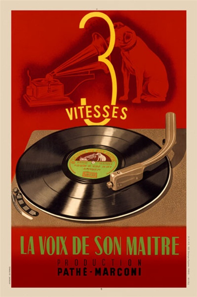 Vitesses Pathe Marconi - Beautiful Vintage Poster Reproductions. French product radio poster features a vinyl record on a player with a phonography behind it and a dog with his nose in the horn. Giclee Advertising Prints.