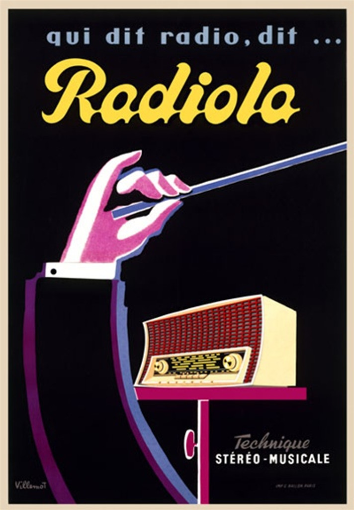 Radiola by Villemot 1954 France - Beautiful Vintage Poster Reproductions. French odd product poster features a conductors arm with baton held up in front of a radio on a black background. Giclee Advertising Print. Classic Posters