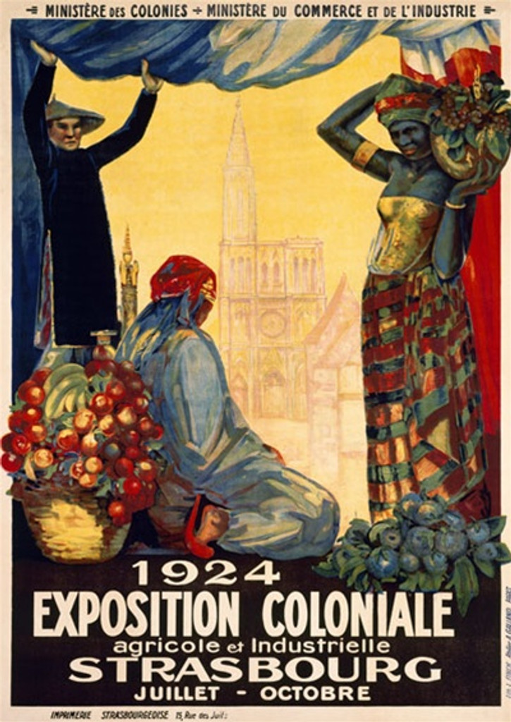 Exposition Strasbourg poster 1924 France - Vintage Poster Reproductions. French poster for the colonial agricultural and industrial exhibition people in native dress with produce near the Strasbourg cathedral. Giclee Advertising Print. Classic Posters