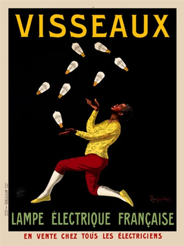 Visseaux by Cappiello 1913 France - Beautiful Vintage Poster Reproduction. This vertical French poster advertising light bulbs features a juggler in a yellow shirt and red pants on a black background. Giclee advertising print. Classic Posters