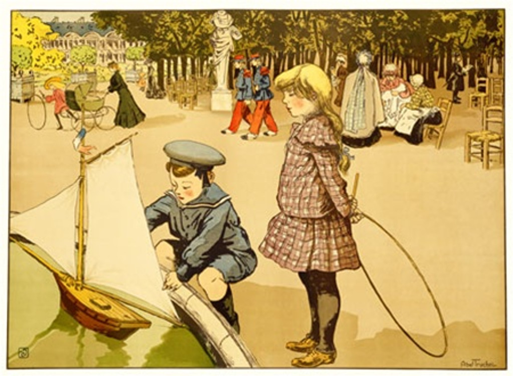 Jardin du Luxumburg by Truchet 1900 France - Vintage Poster Reproductions. This horizontal French poster features a boy playing with his toy boat in the fountain at the park with a girl next to him. Giclee Advertising Print. Classic Posters