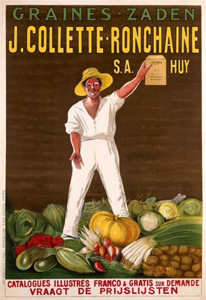 J. Collette Ronchaine by Cappiello 1910 France - Beautiful Vintage Poster Reproduction. This vertical French poster features a farmer standing in his bountiful harvest of vegetables holding up the seeds the poster is advertising. Giclee advertising print