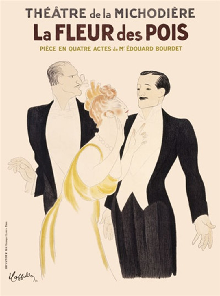 La Fleur des Pois by Cappiello 1932 France - Beautiful Vintage Posters Reproductions. This vertical French poster advertising a comedy theatrical performance show caricatures of two men in tuxedos and a formally dressed women. Giclee advertising prints