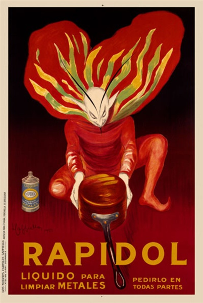 Rapidol by Cappiello 1922 France - Beautiful Vintage Poster Reproduction. This vertical French poster advertising metal polish features a red devil in a colorful cape looking at a freshly polished copper pot. Giclee advertising print. Classic Posters
