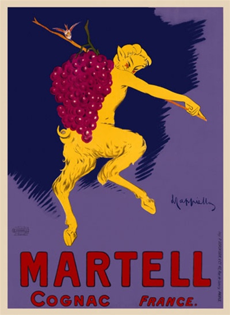 Cognac Martell by Cappiello 1905 France - Beautiful Vintage Poster Reproduction. This vertical French wine and spirits poster features a yellow satyr (half man, half goat) carrying a bunch of grapes. Giclee advertising print. Classic Posters