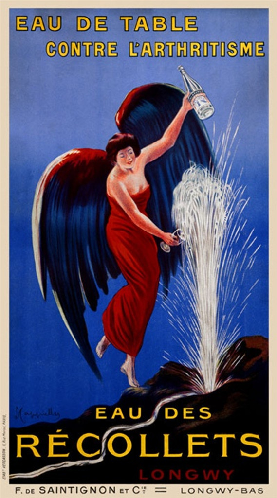 Eau des Recollets poster by Leonetto Cappiello 1912 France - Vintage Posters Reproductions. French poster advertising mineral water features a women in a red dress and green wings filling bottles with water from a spring fountain. Giclee Prints