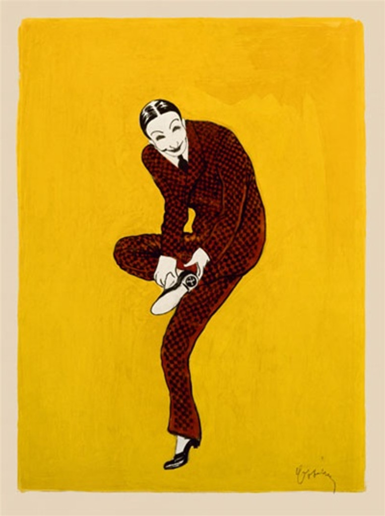 Chaussures Man by Cappiello 1905 France - Beautiful Vintage Posters Reproductions. This vertical French poster proof features a man in a brown suit on a yellow background holding up his foot to show us his shoe. Giclee advertising print. Classic Posters
