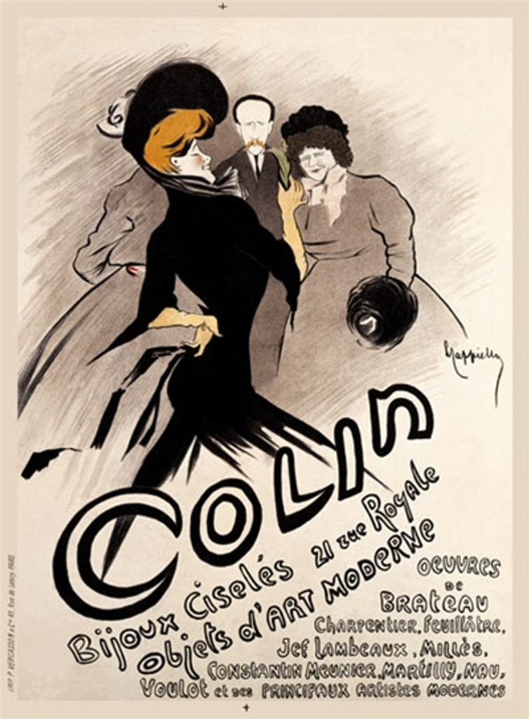 Colin Bijoux by Cappiello 1903 France - Beautiful Vintage Posters Reproductions. This vertical French poster is largely in black and white but the featured woman has gold hair and gloves. She is walking past two women and a man. Giclee advertising print