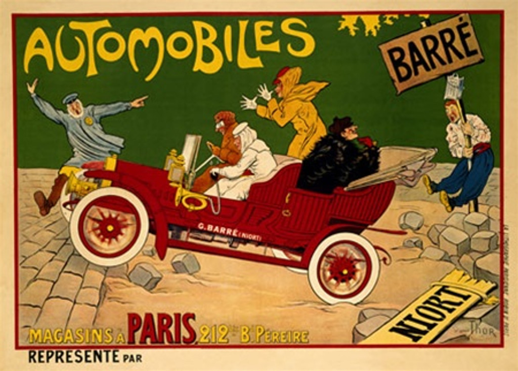 Automobiles Barre by Thor 1910 France - Vintage Poster Reproductions. This horizontal French transportation poster features a red car driving on an unpaved part of the road while a policeman waves them to stop. Giclee Advertising Print. Classic Posters