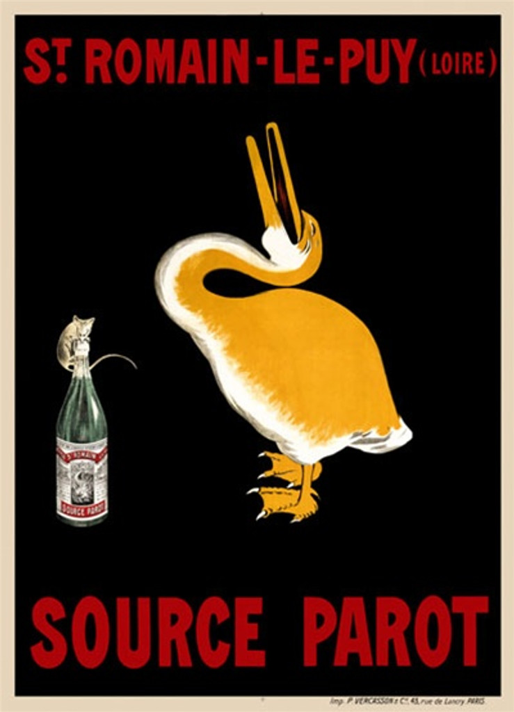 Source Parot by Cappiello 1908 France - Beautiful Vintage Posters Reproductions. This vertical French poster advertising mineral water shows a yellow pelican throwing his head back laughing at a mouse trying to drink from the bottle. Giclee prints