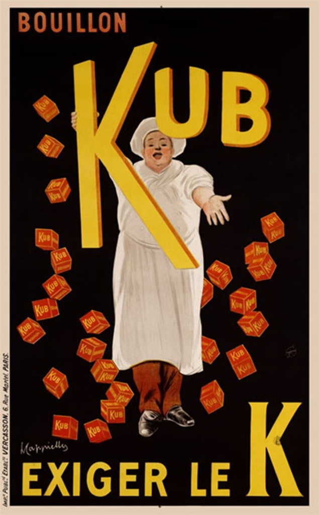 """Boullon Kub by Cappiello 1911 France - Beautiful Vintage Posters Reproductions. This vertical French poster features a chef sprinkling red boxes of bouillon all around him on a black background. """"""""Try the K"""""""". Giclee advertising print. Classic Posters"""