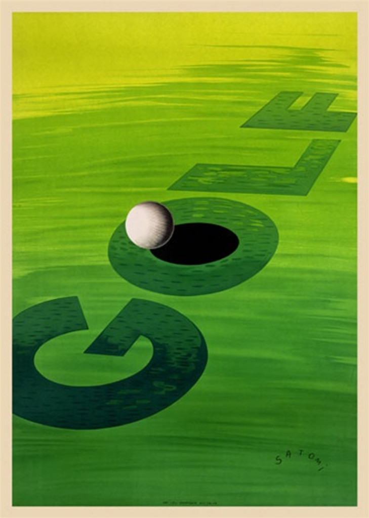 Golf poster by Satomi 1930 France - Beautiful Vintage Posters Reproductions. French golf sports poster features a light to dark green background with the text Golf and a ball about to fall in the hole of the O. Giclee Advertising Print. Classic Po